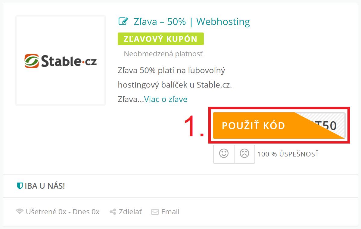 Ako aktivovať zľavový kód na Stable.cz