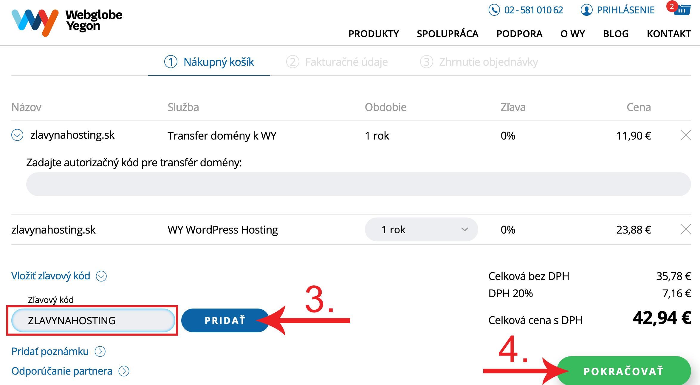 Ako aktivovať zľavový kupón na Webglobe Yegon