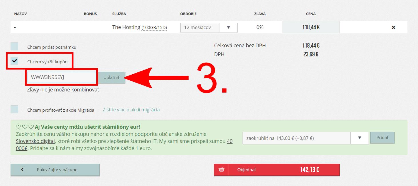 Ako použiť zľavový kupón WebSupport?
